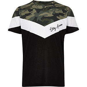 Boys khaki camo 'Stay awesome' T-shirt