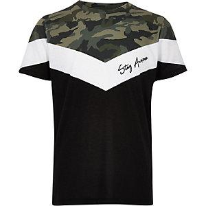 T-shirt «Stay awesome» camouflage kaki pour garçon