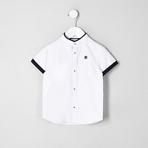 Mini boys white contrast trim shirt