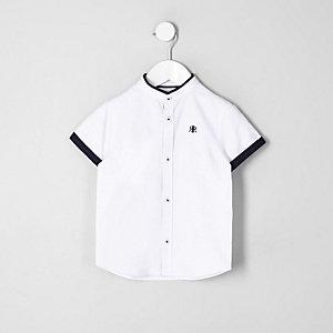 Mini - Wit overhemd met contrasterende rand voor jongens