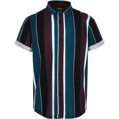 Zwart Gestreept Overhemd Met Korte Mouwen Voor Jongens by River Island