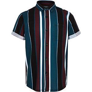 Chemise rayée noire à manches longues pour garçon
