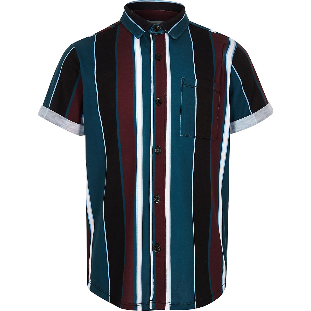 Boys black stripe short sleeve shirt