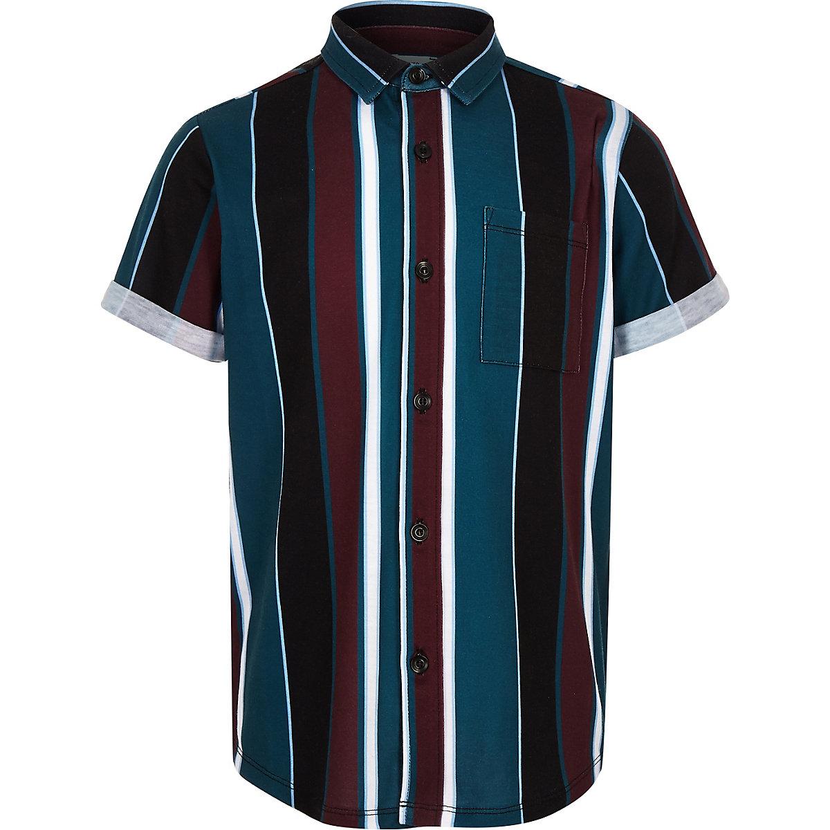 Boys black stripe short sleeve shirt