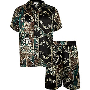 Boys black satin short pajama set