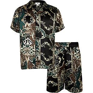 Zwarte satijnen pyjama met short voor jongens