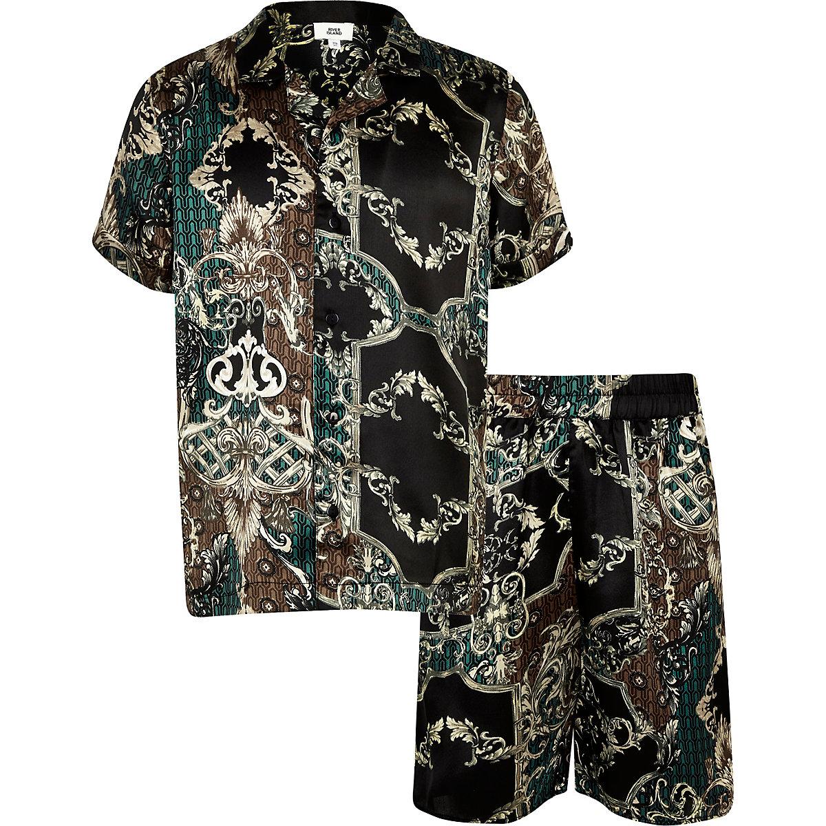 Boys black satin short pajama set