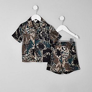 Mini boys black baroque satin pajama set