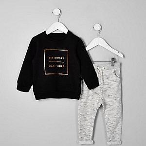 Mini - Zwarte outfit met 'seriously handsome'-print voor jongens