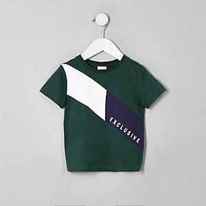 Mini - Groen T-shirt met 'Exclusive'-print en kleurvlakken voor jongens