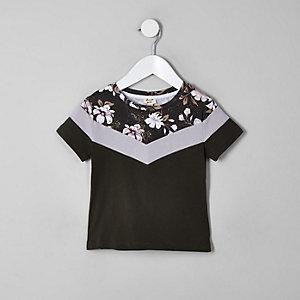 T-shirt color block kaki à fleurs mini garçon