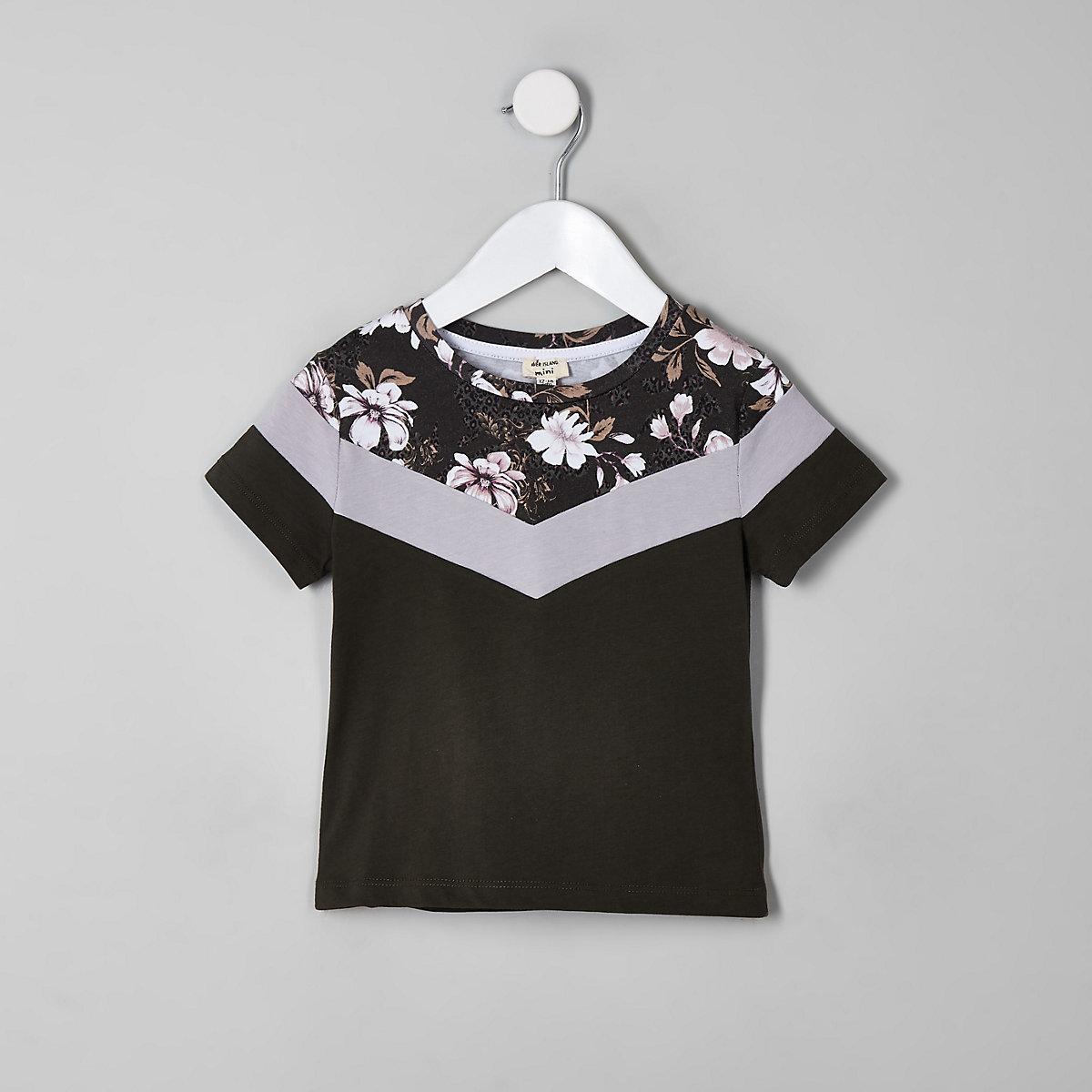 Mini boys khaki floral block T-shirt