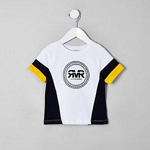 Mini - Geel T-shirt met RI-logo en kleurvlakken voor jongens