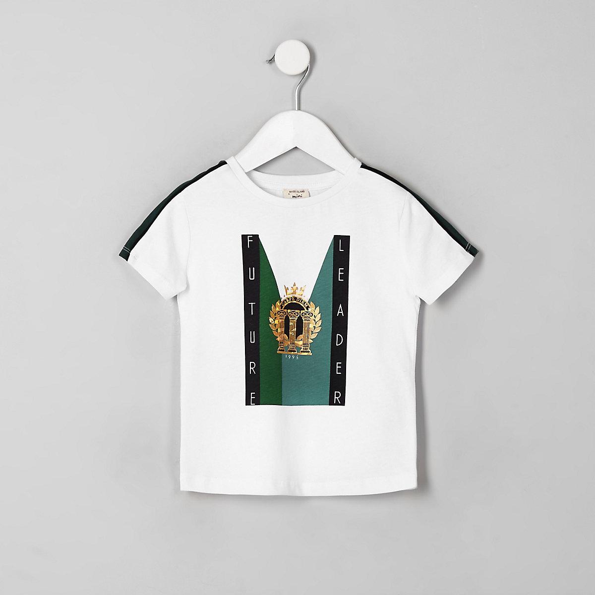 Mini boys white 'Future leader' T-shirt