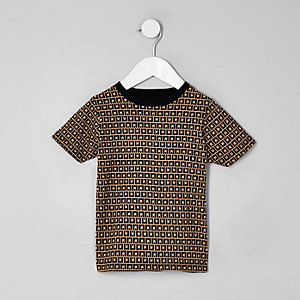 Steingraues T-Shirt mit RI-Monogramm