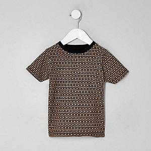 T-shirt grège à monogramme RI mini garçon