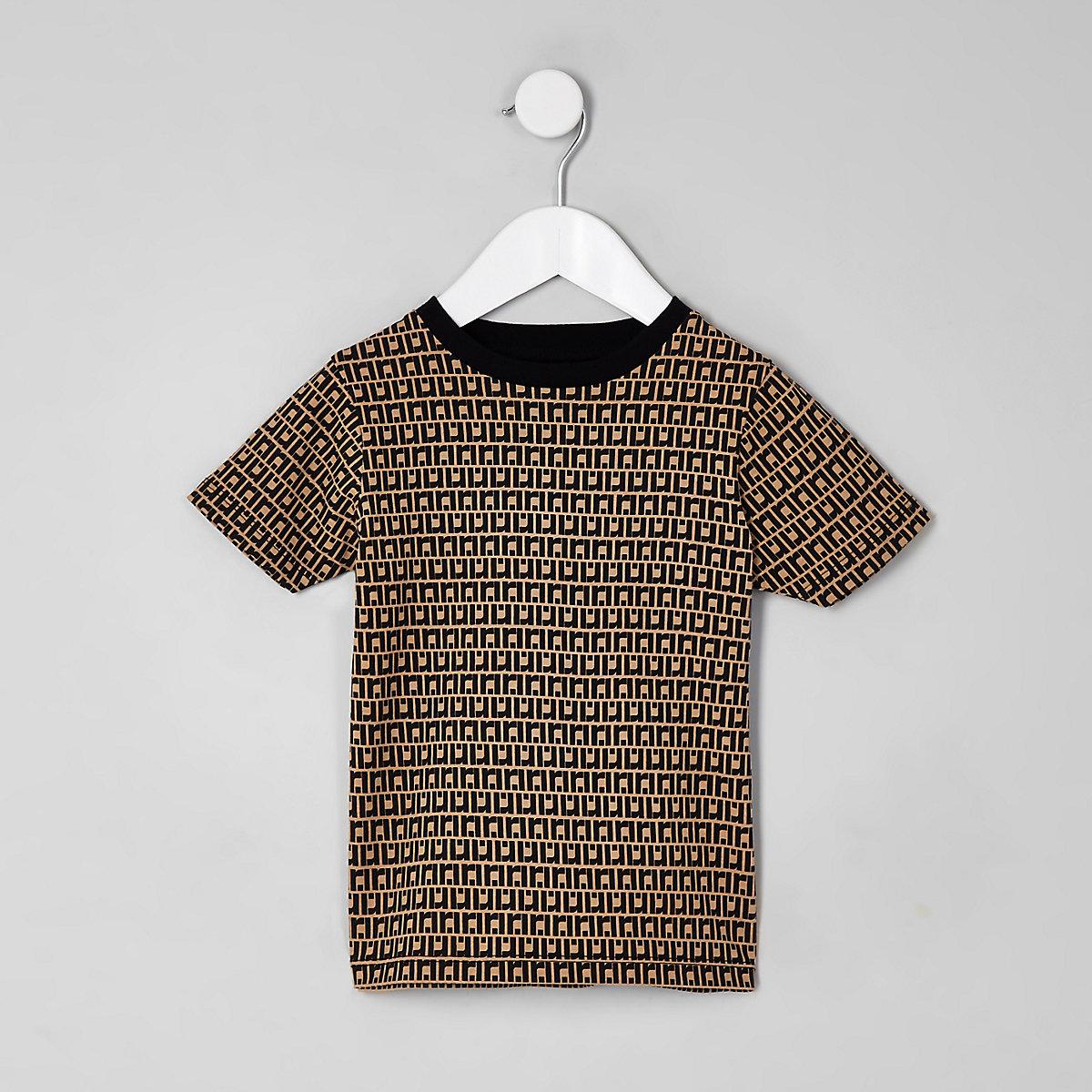 Mini boys stone RI monogram T-shirt