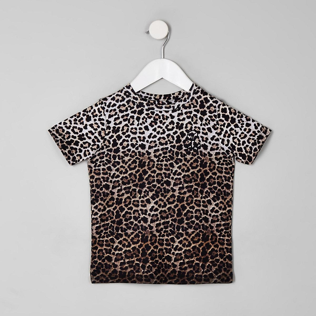 Mini boys stone leopard print T-shirt