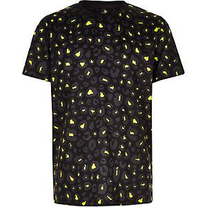 T-shirt imprimé léopard vert citron et noir pour garçon