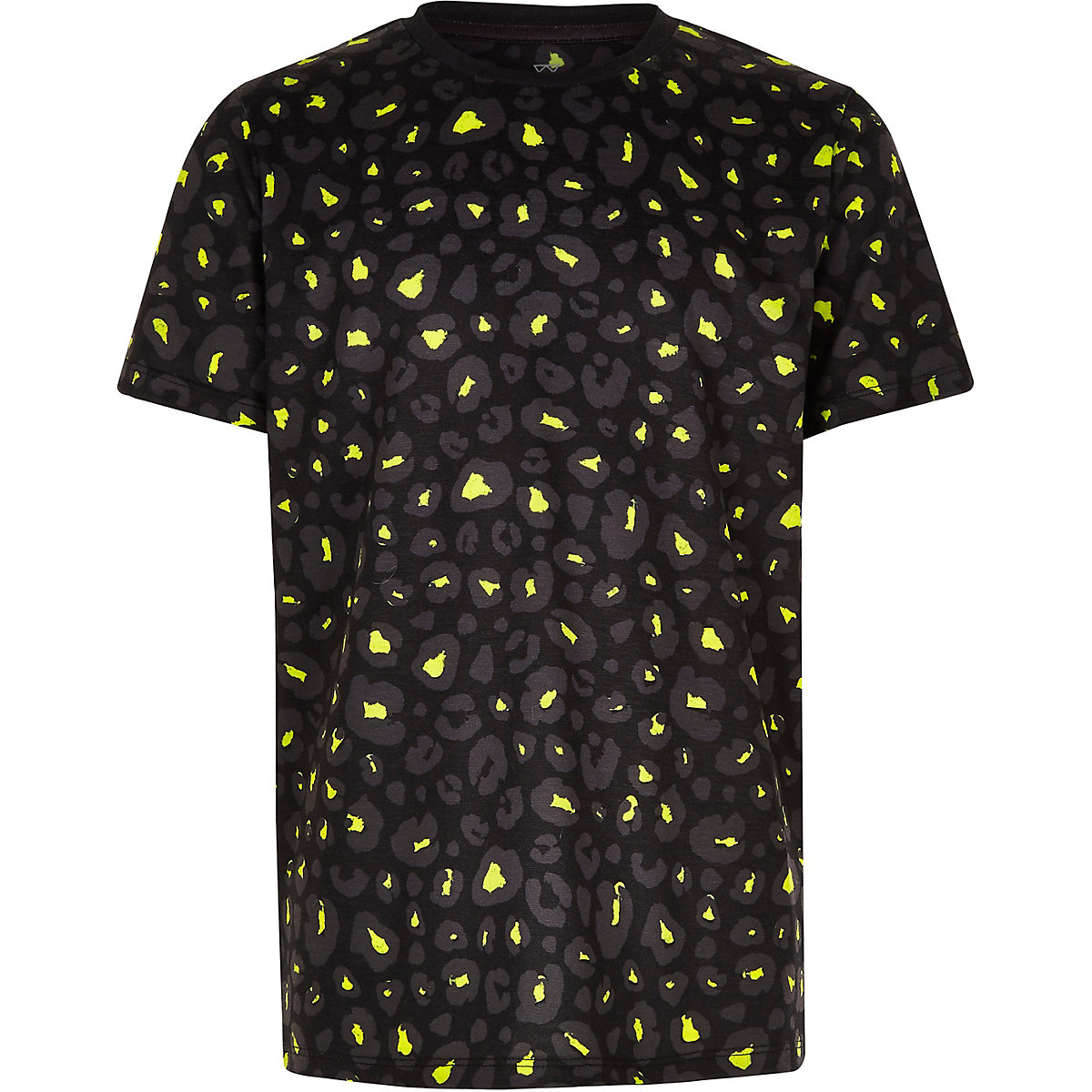 Boys black lime leopard print T-shirt