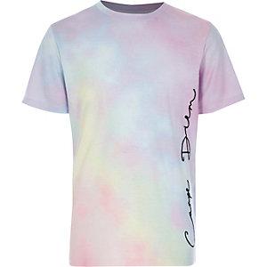 Roze T-shirt met 'Carpe diem'-print voor jongens