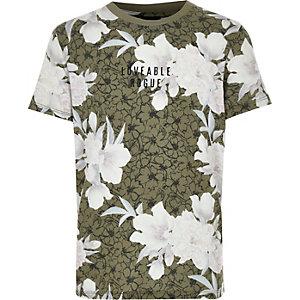 Khaki T-Shirt mit Blumenmuster