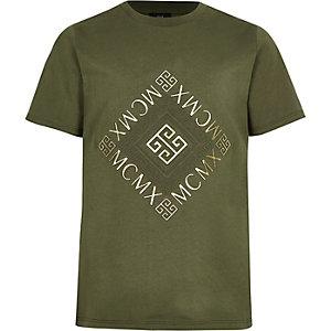 Kaki T-shirt met 'Mcmx'-print voor jongens