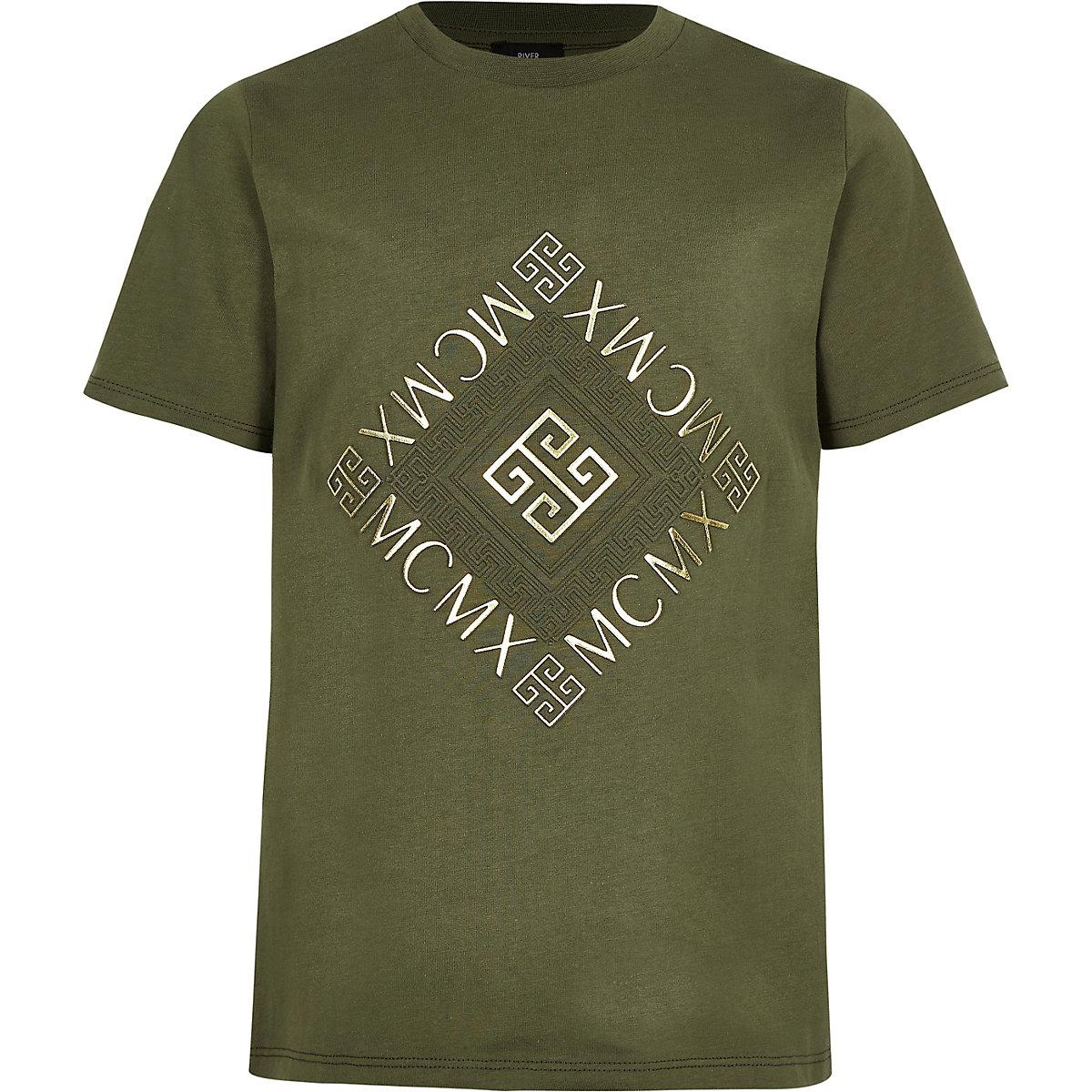 Boys khaki 'Mcmx' T-shirt