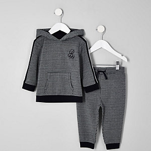 Mini boys black dogtooth check jogger outfit