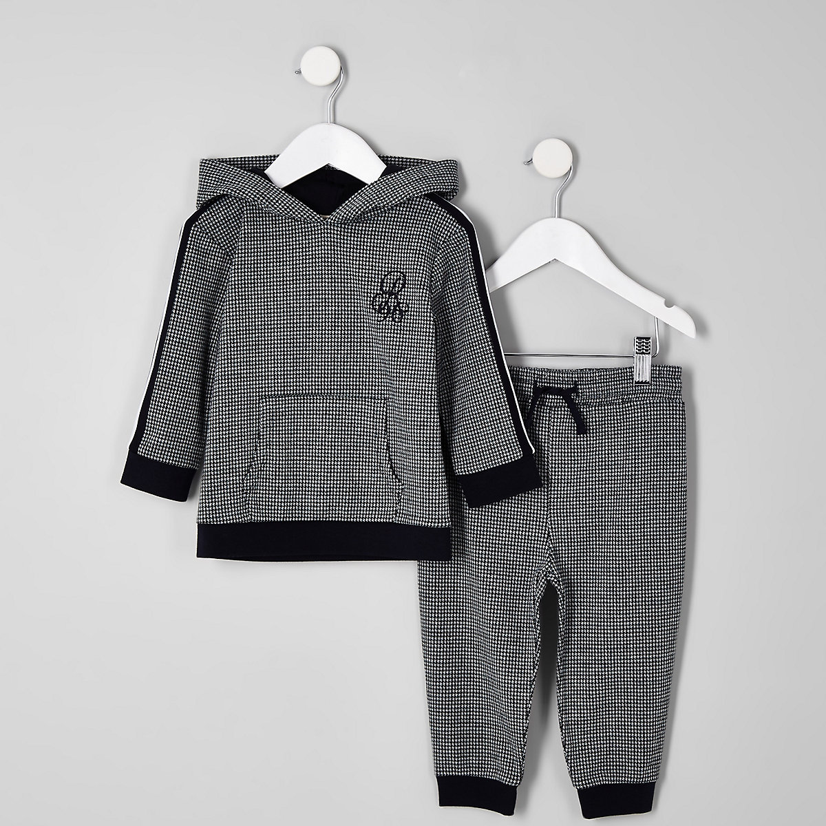 Mini boys black houndstooth check jogger outfit