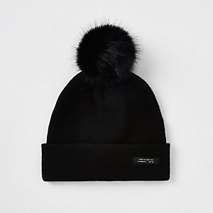 Boys black slouch beanie hat