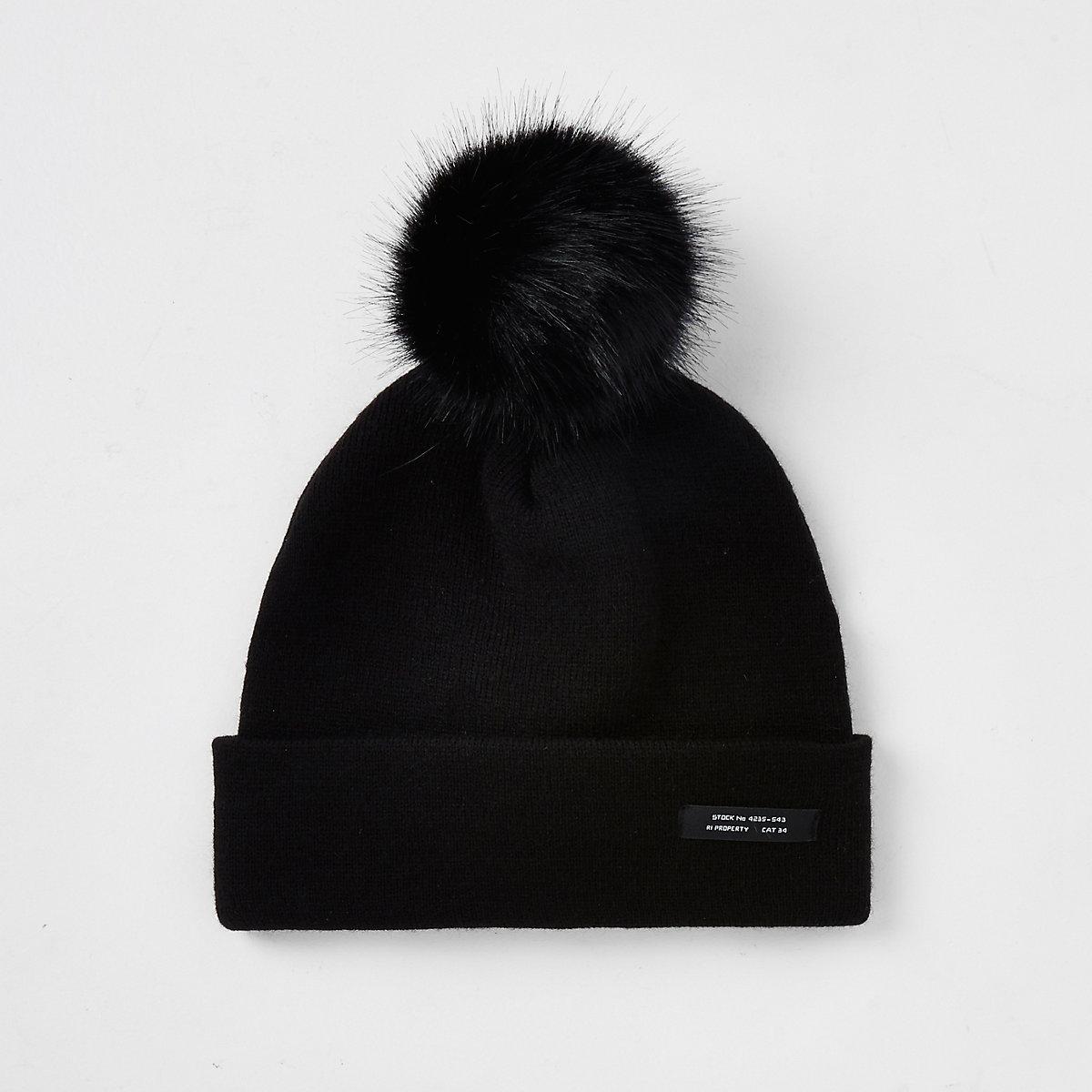 Boys black slouch beanie hat - Hats - Accessories - boys c0a53d9a646