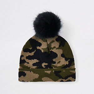 Mini boys khaki camo faux fur beanie hat