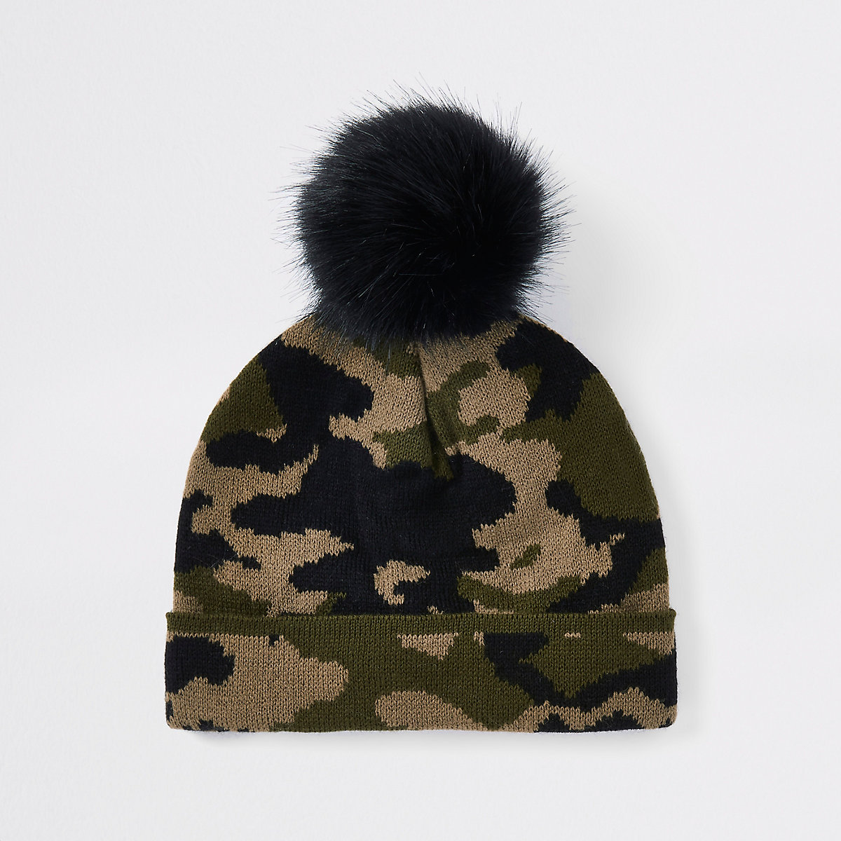 Mini boys khaki camo faux fur beanie hat - Baby Boys Accessories - Mini  Boys - boys cda32907c01