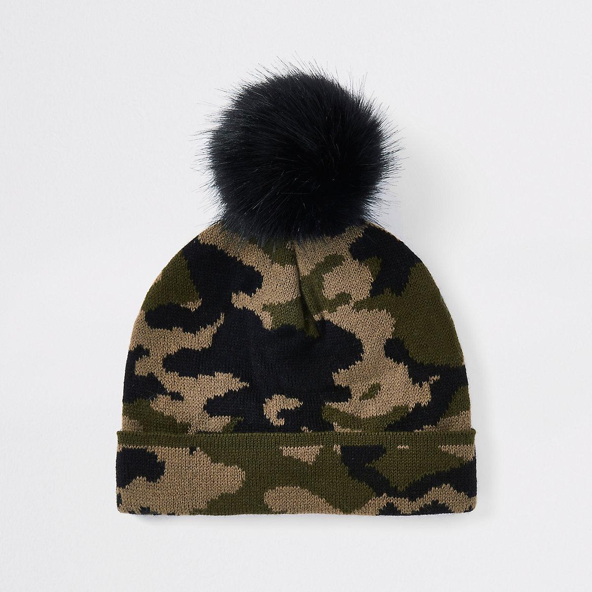 Mini boys khaki camo faux fur beanie hat