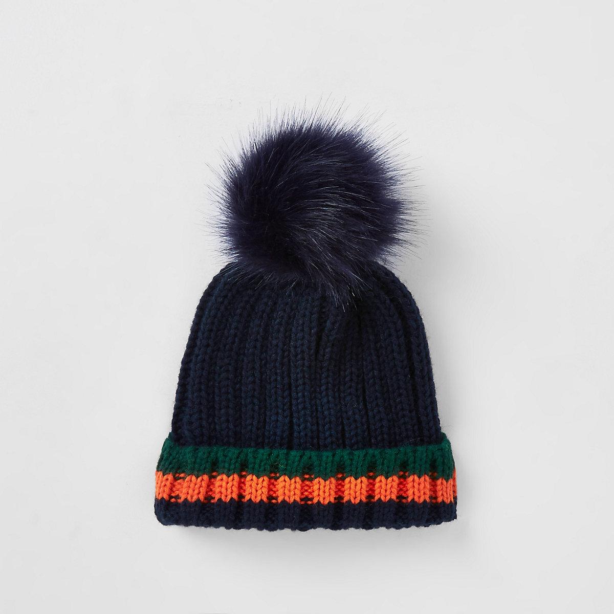 Mini boys navy tipped faux fur beanie hat