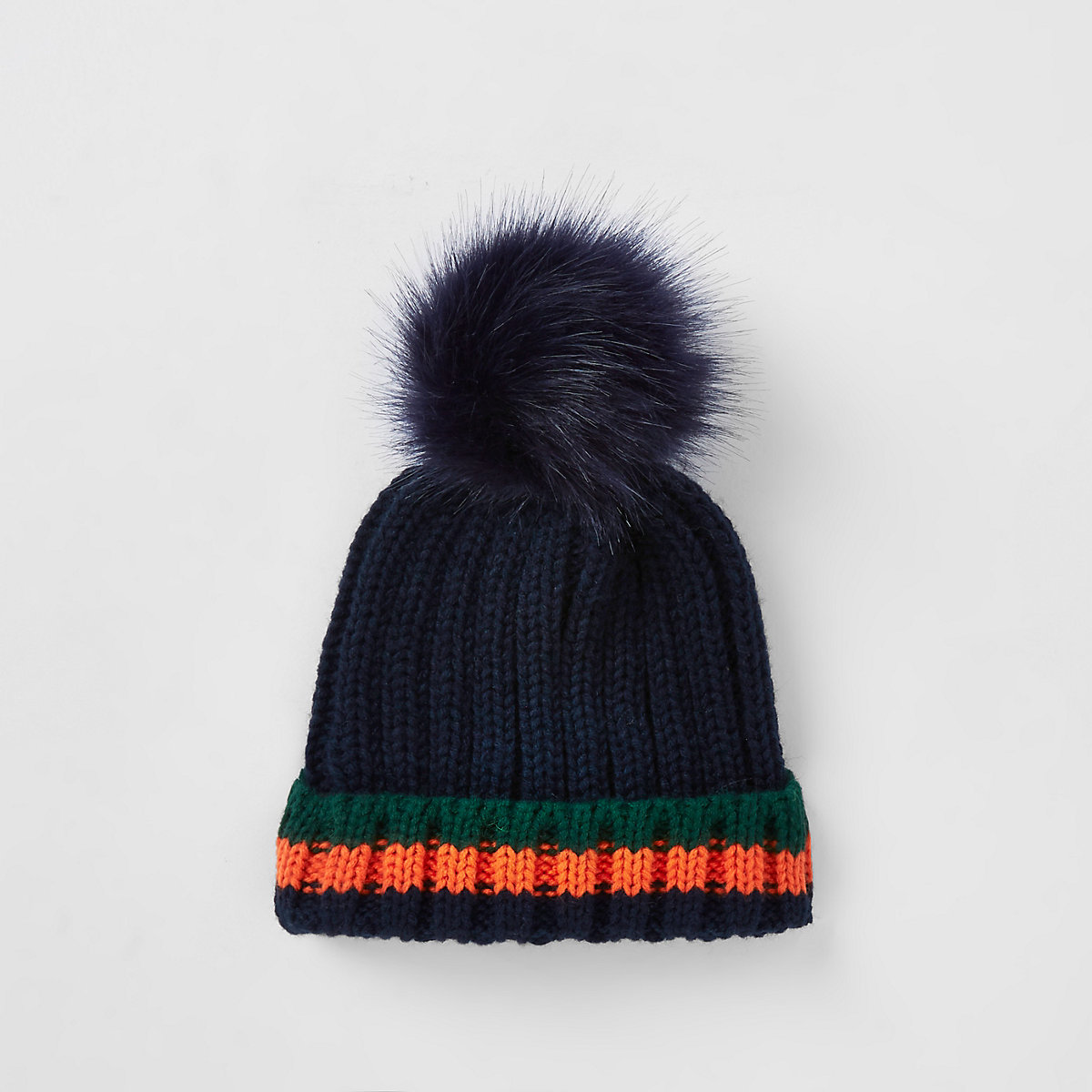 Mini boys navy tipped faux fur beanie hat