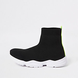 Boys black sock runner trainers