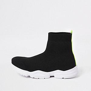 Zwarte gebreide sokvormige sneakers voor jongens