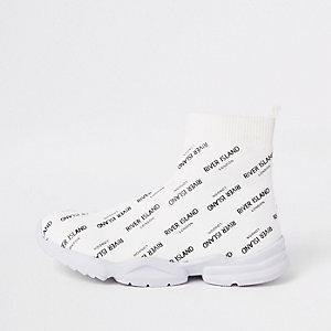 Boys white RI print sock runner sneakers