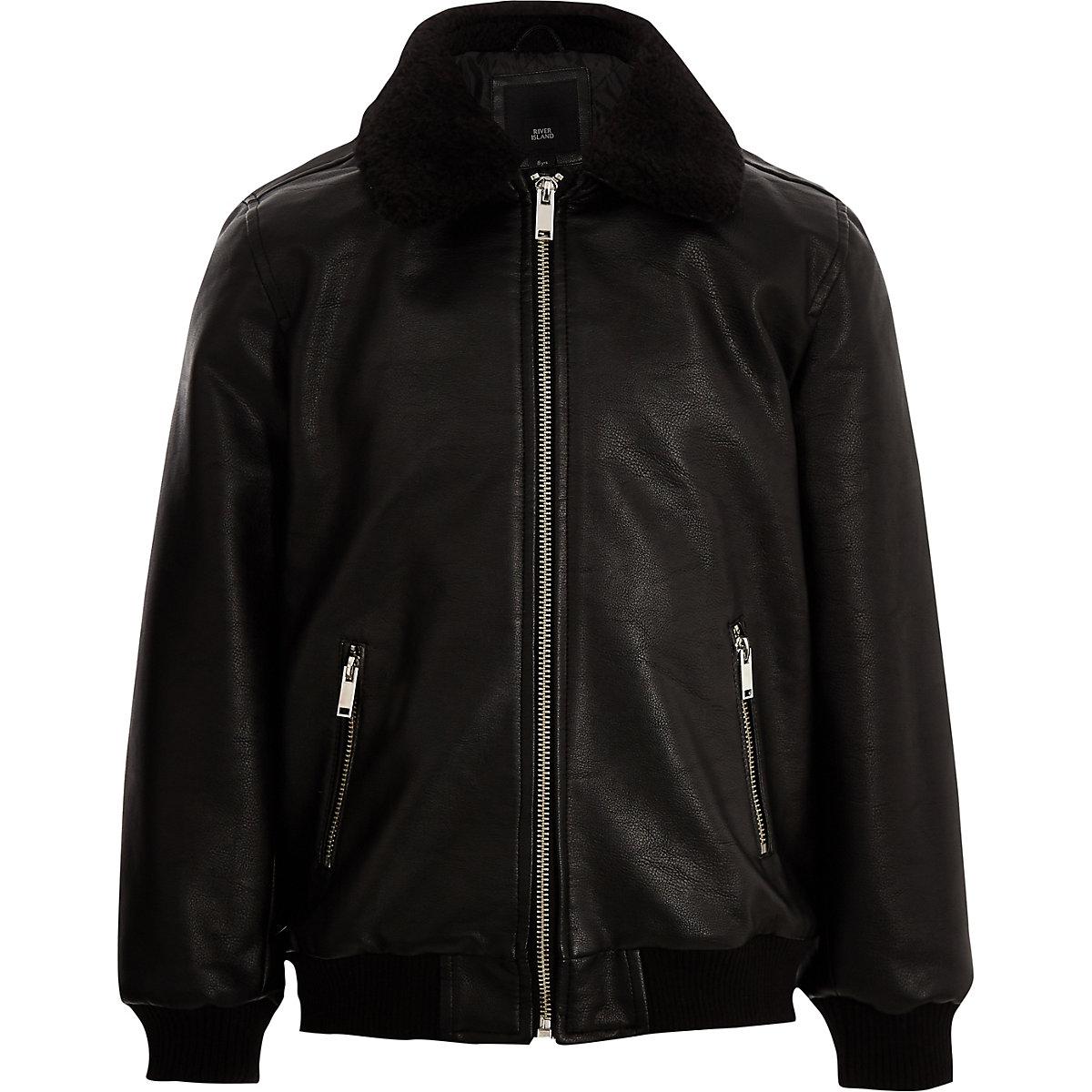 Boys black faux leather fleece collar jacket