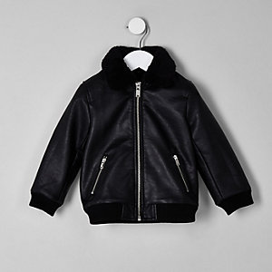 Mini boys black faux leather fleece jacket