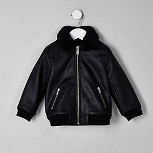 Mini boys black faux leather fleece jacket