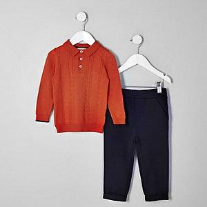 Mini boys orange polo shirt outfit