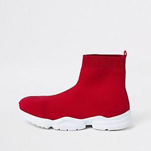 Rode gebreide sokvormige sneakers voor jongens