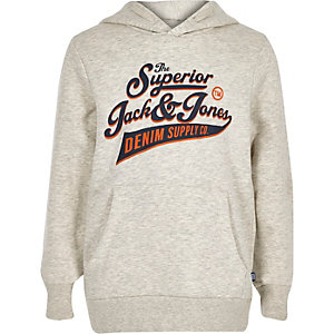 Boys Jack and Jones grey logo hoodie
