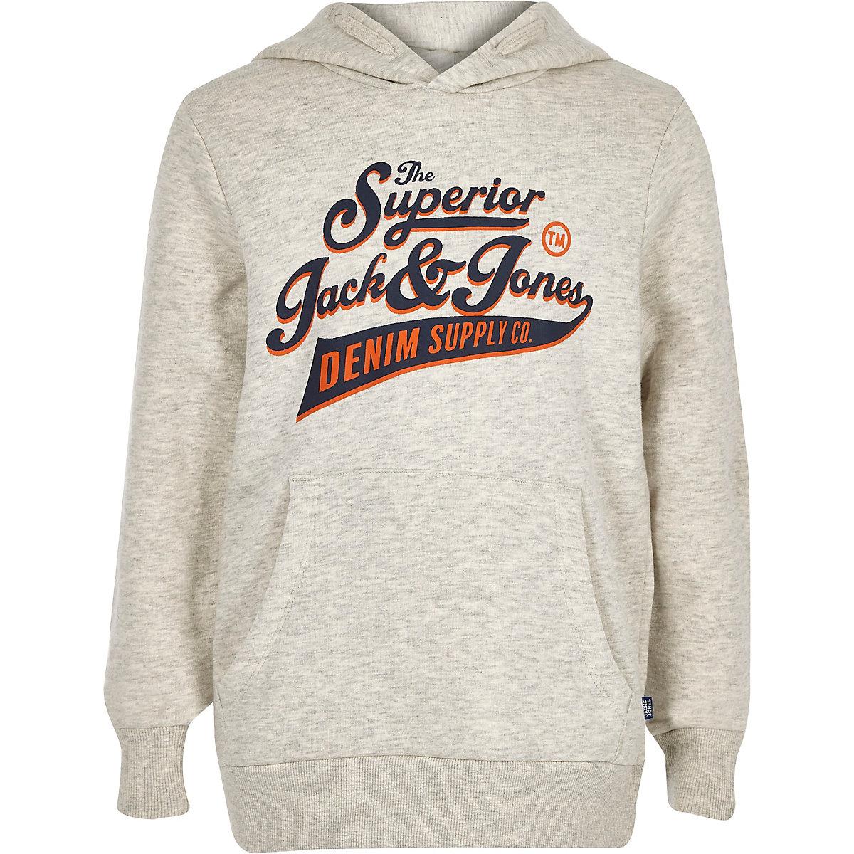 Boys Jack and Jones grey logo hoodie