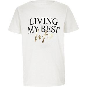 T-shirt «Living my best life» blanc pour garçon