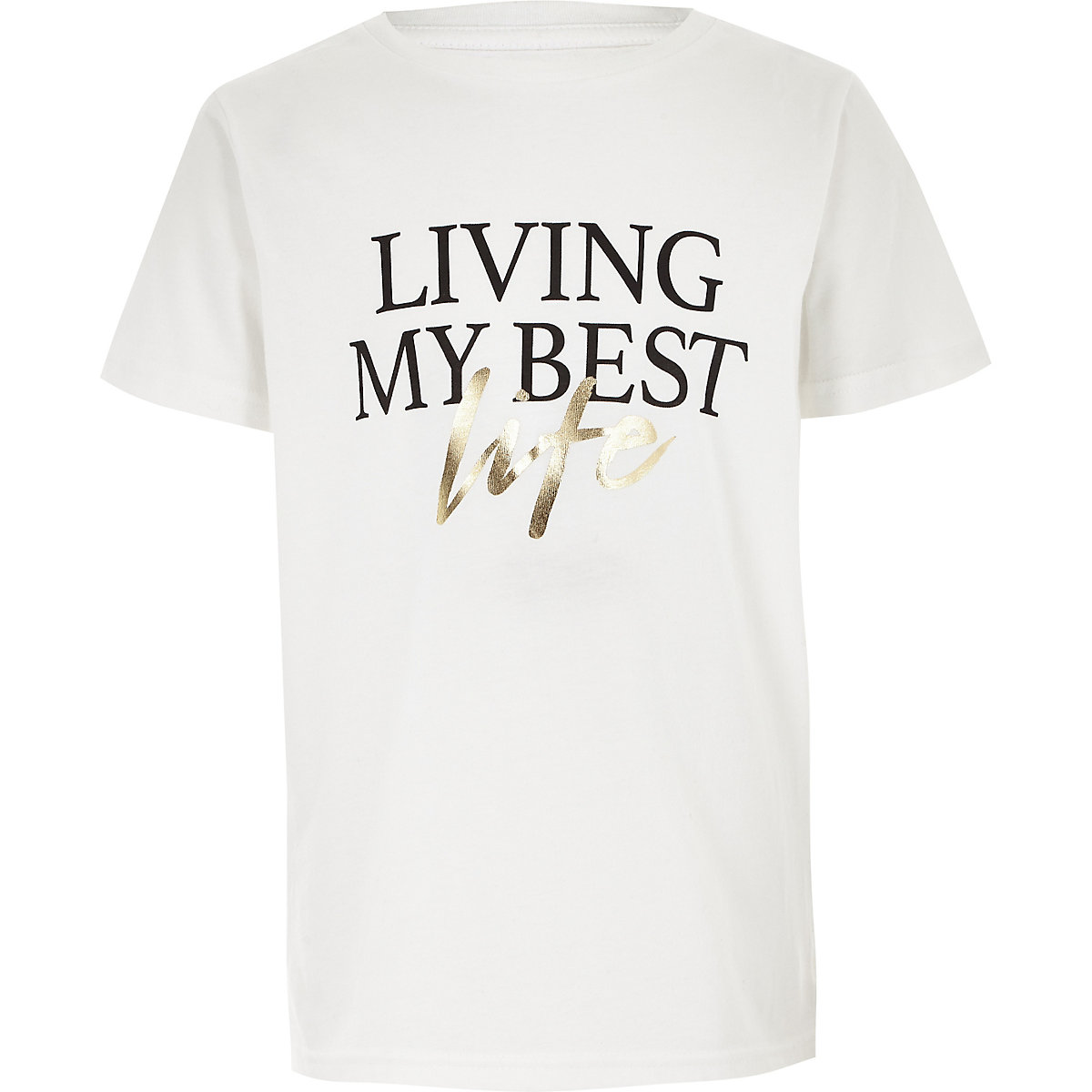 Boys white 'Living my best life' T-shirt