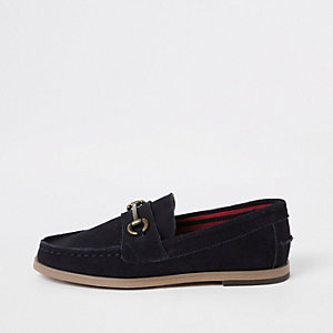 Boys navy suede snaffle loafers